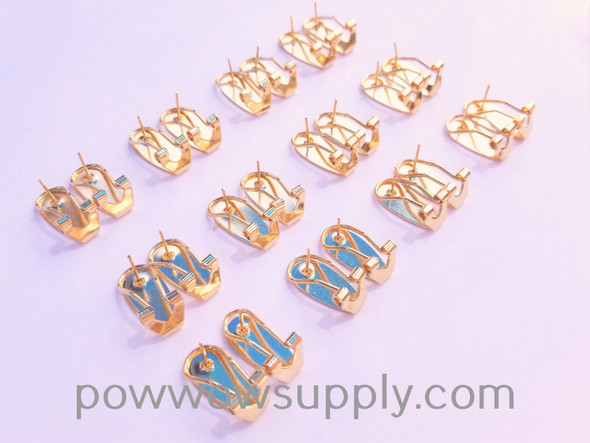 Fingernail Earring Post Gold-plated Brass  - 12 pairs