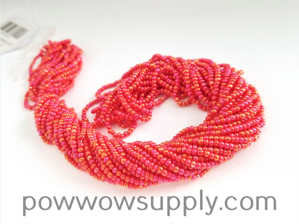 11/0 Seed Beads Opaque AB Light Red