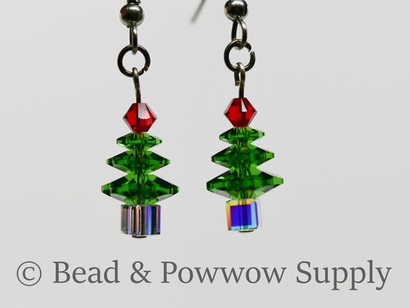 Mini Christmas Tree Earrings, made with Crystals 9