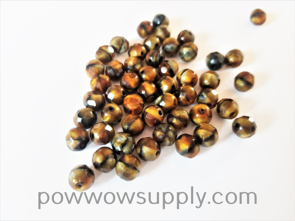 8mm Fire Polished  Opaque Tiger Eye