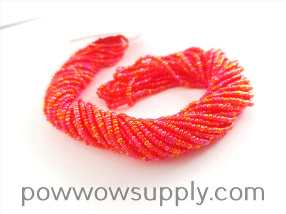 11/0 Seed Beads Transparent AB Light Red