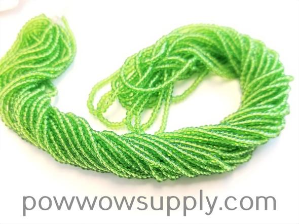 12/0 Seed Beads Transparent Light Green