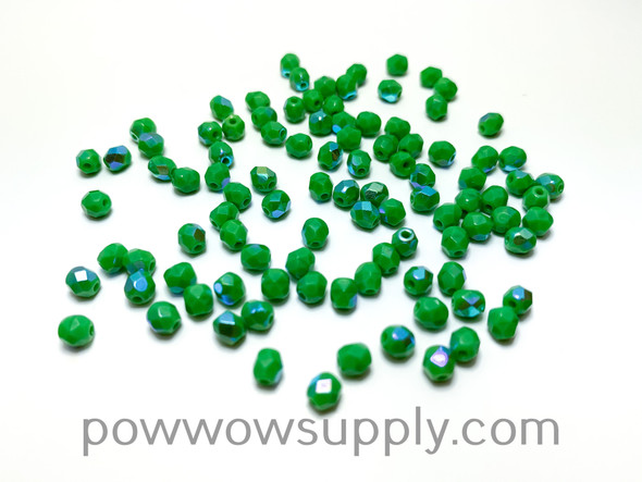 4mm Fire Polish Opaque AB Green