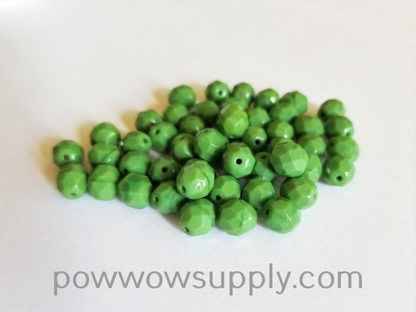 8mm Fire Polished  Opaque Green