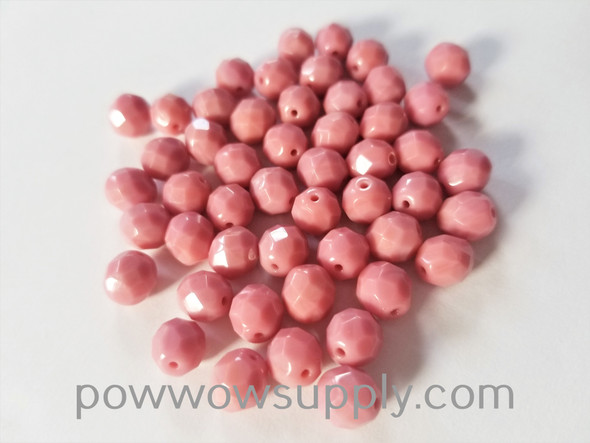 8mm Fire Polished  Opaque Pink