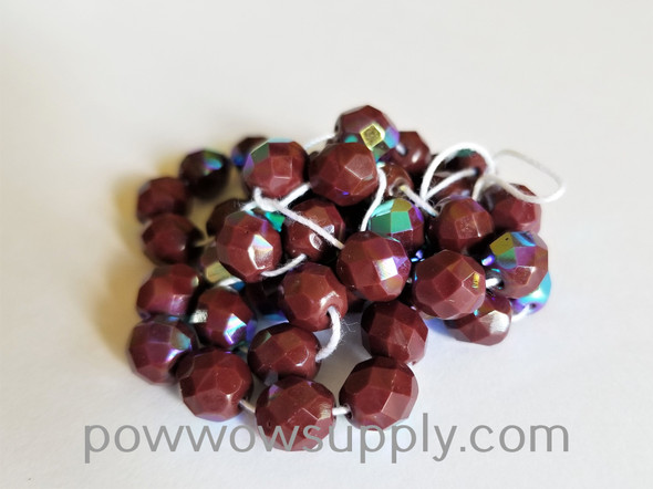 8mm Fire Polished  Opaque AB Dark Brown