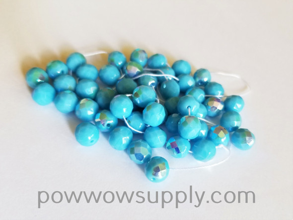 8mm Fire Polished  Opaque AB Light Turquoise