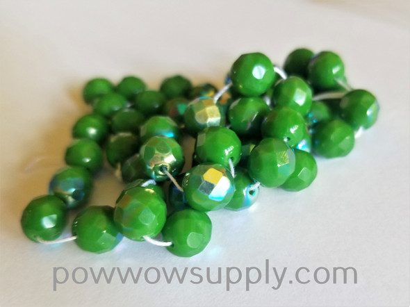 8mm Fire Polished  Opaque AB Green