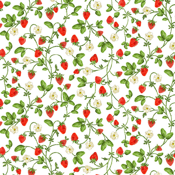 Small strawberries and blossoms on a white background.