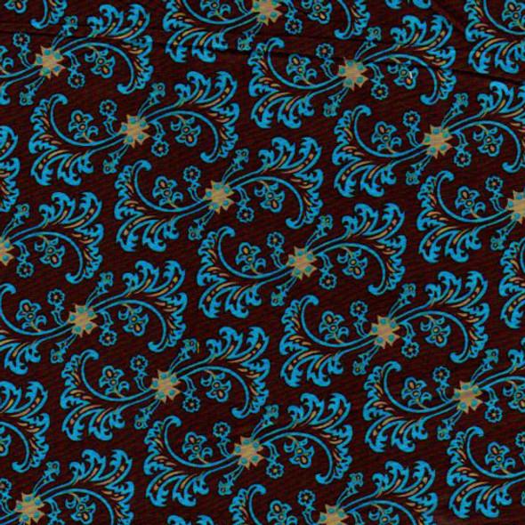 Bright blue floral pattern on a dark brown ground.