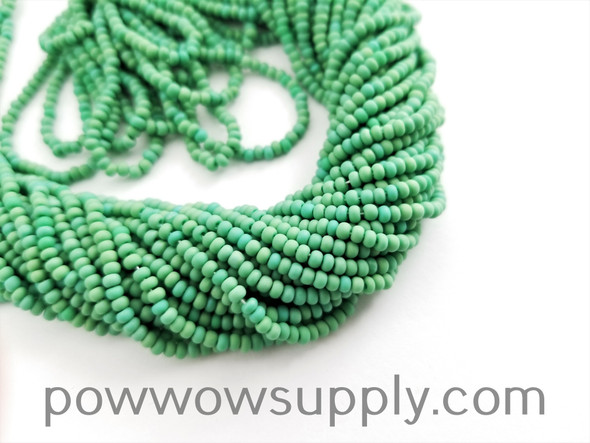11/0 Seed Beads Opaque AB Matte Green