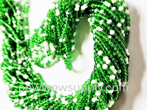 11/0 Seed Beads Green & White Mix