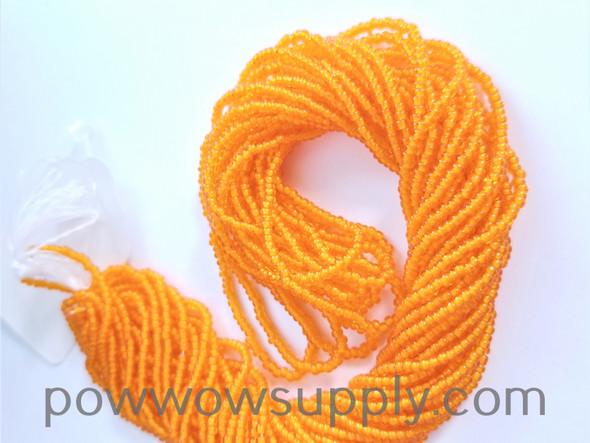 11/0 Seed Beads White Lined Orange
