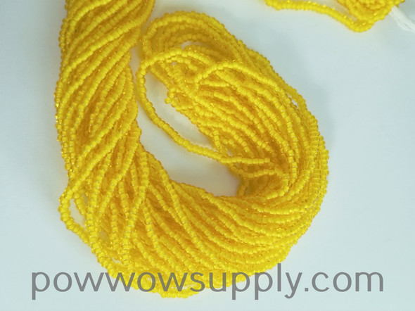 11/0 Seed Beads White Lined Yellow