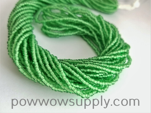 11/0 Seed Beads White Lined Pale Green