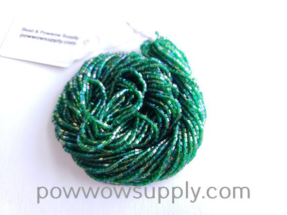 11/0 2-cuts Transparent Aurora Borealis Green
