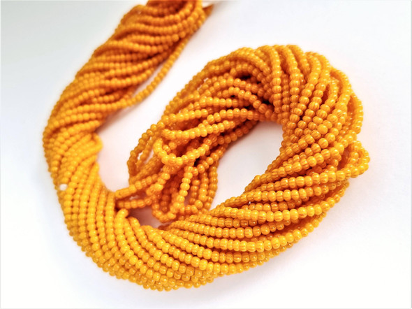 11/0 Seed Beads Striped Red-Golden Yellow Multi-Stripe
