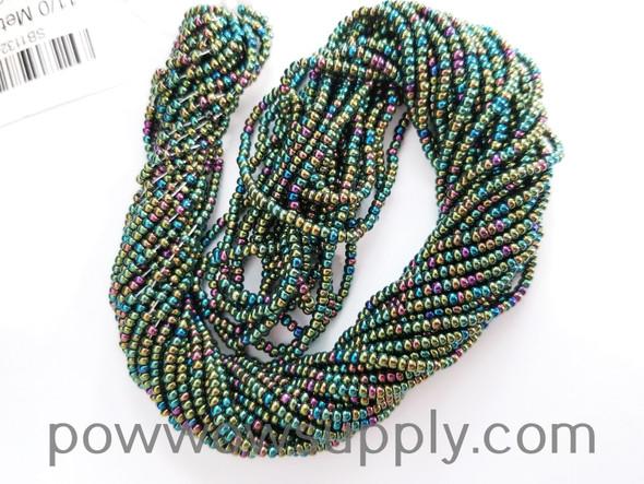 11/0 Seed Beads Metallic Iris Green