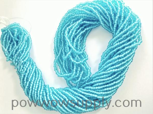11/0 Seed Beads White Lined Aqua
