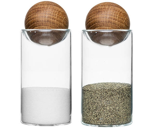 Oak salt/-pepper set