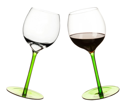 Rocking wine glass, rounded base, 2-pack, green