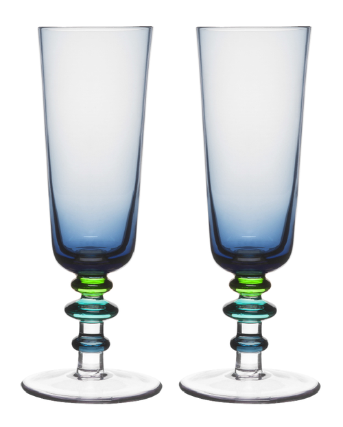 Spectra Champagne Glass 2-pack blue/green
