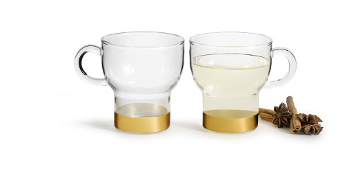 Glass mug 2-pack large, gold-coloured