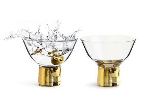 Club cocktail-/desert glass gold, 2-pack