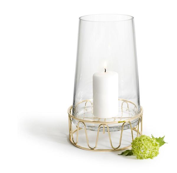 Candle holder / Vase, gold-coloured