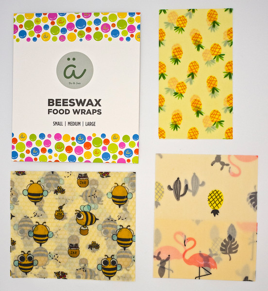 Beeswax Food Wrap - Assorted Set of 3 Sizes (S, M, L)