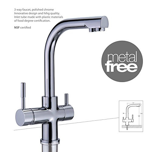 Girona Three Way (Triflow) Filter Tap - Polished Chrome METAL FREE