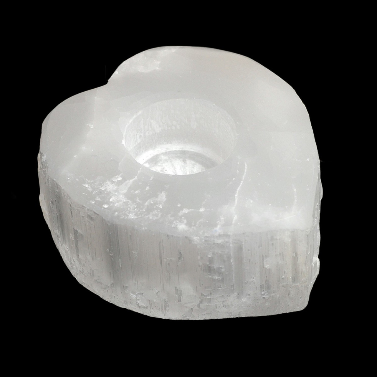 Heart Shaped Selenite Candle Holder (Holds T-light candles)