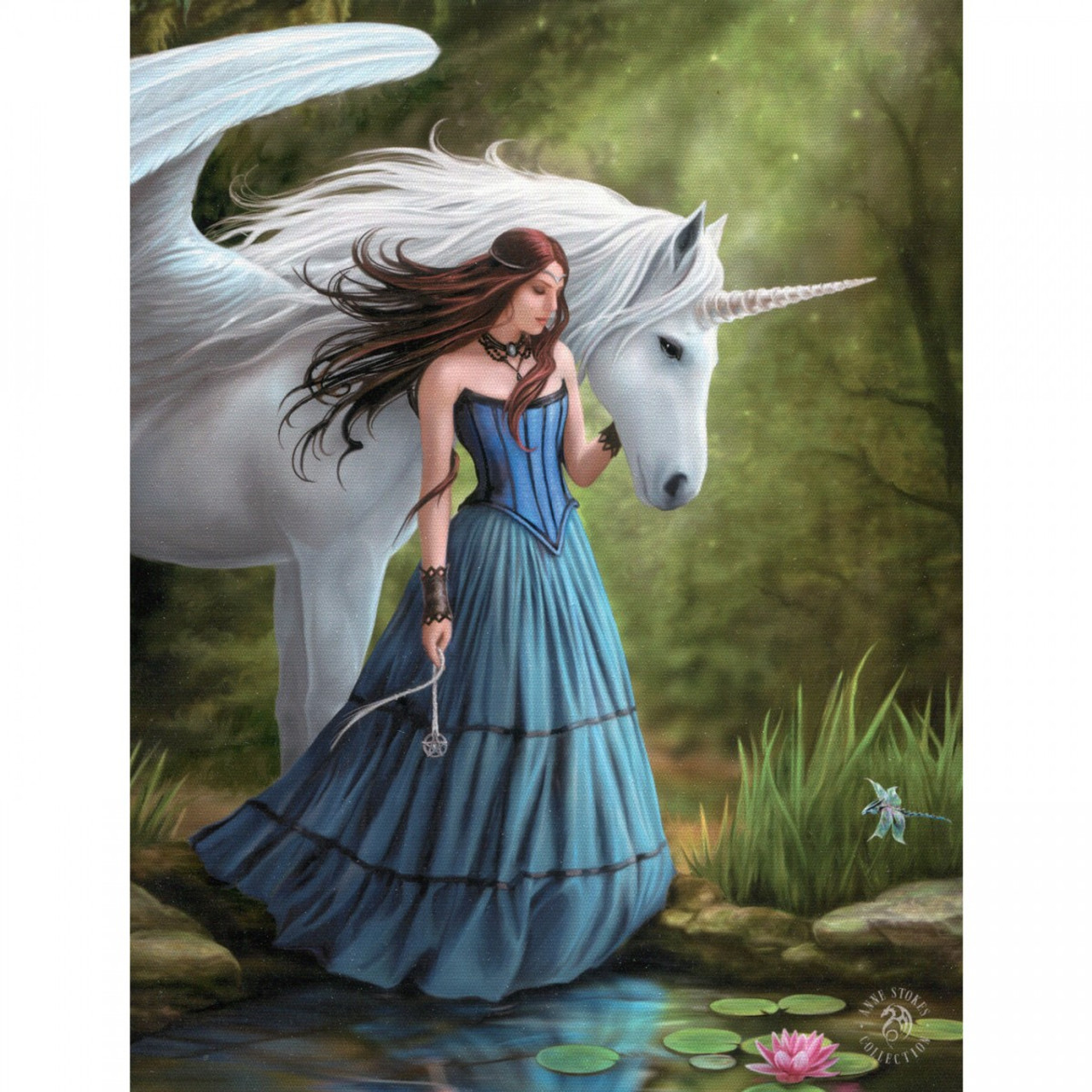 Enchanted Pool Canvas Plaque (25 x 19cm) by Anne Stokes