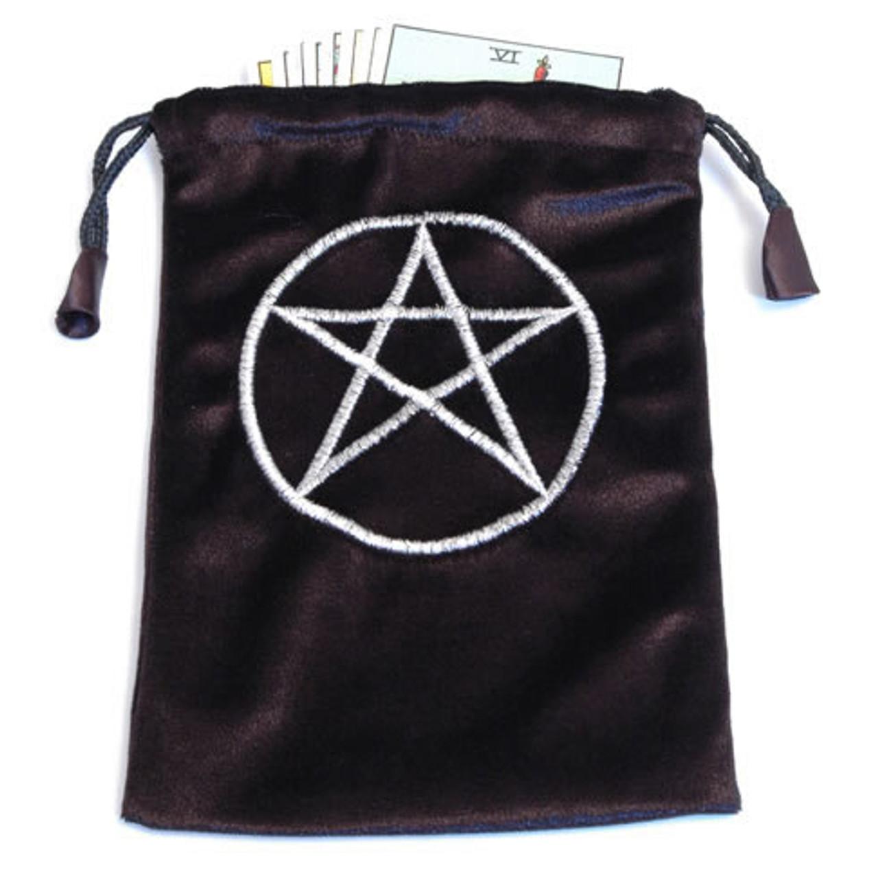 Black Velvet Tarot/Angel Card Bag  - Pentacle Symbol