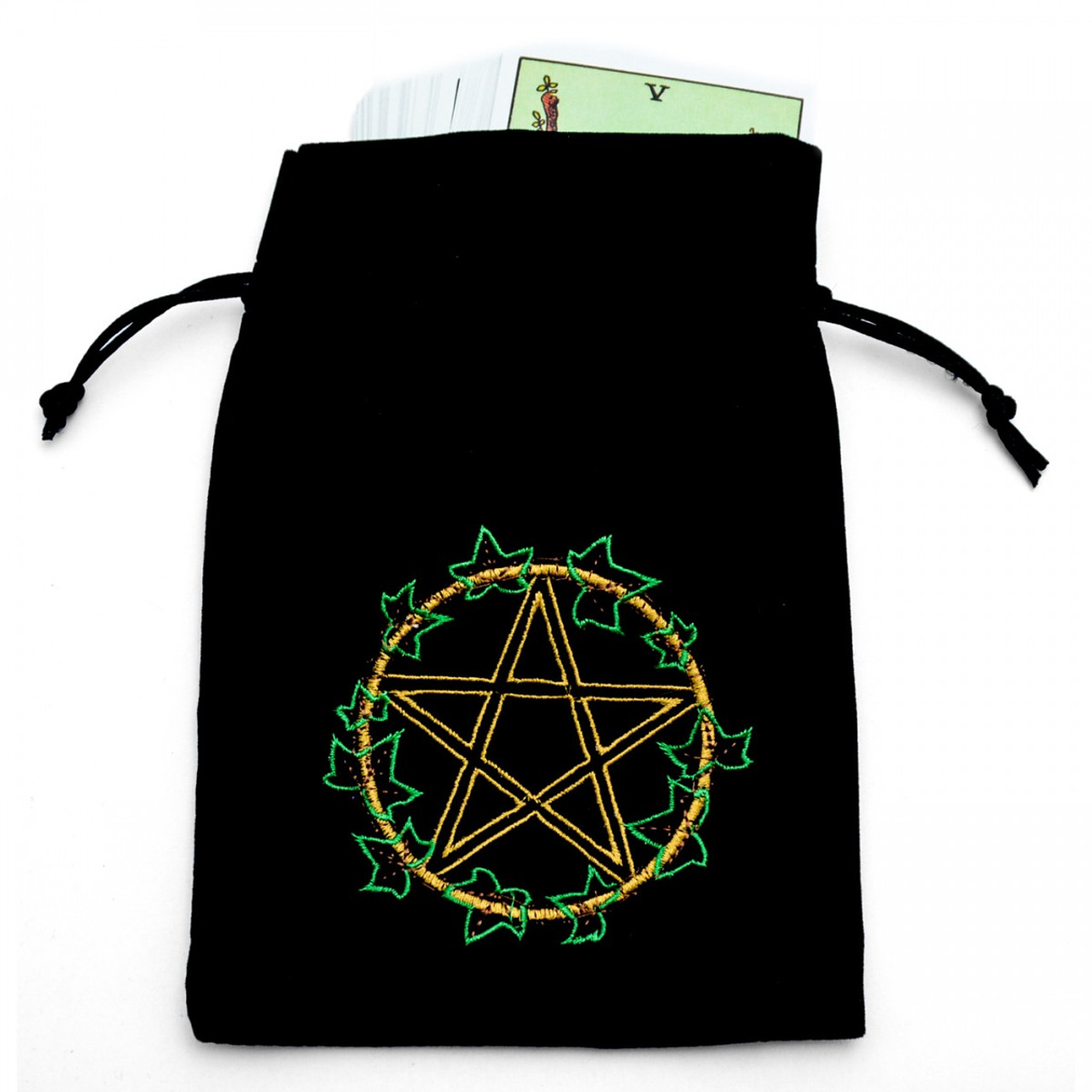 Black Pentacle in Ivy Tarot/Angel Card Bag