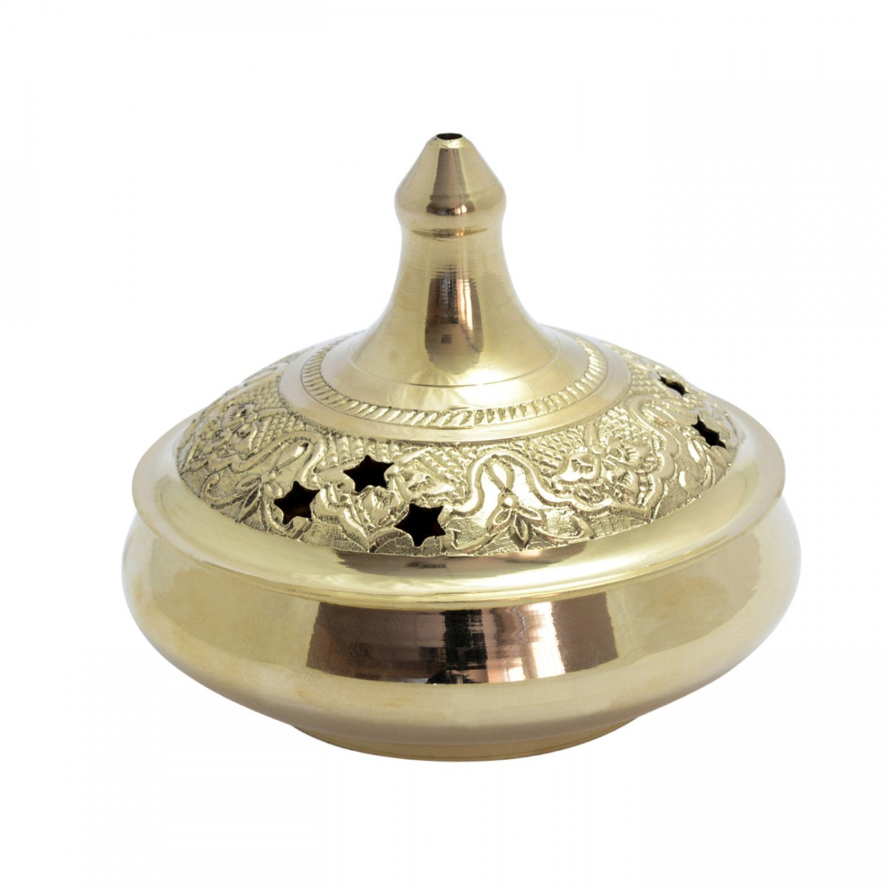 Large Brass Bowl Burner with Stars