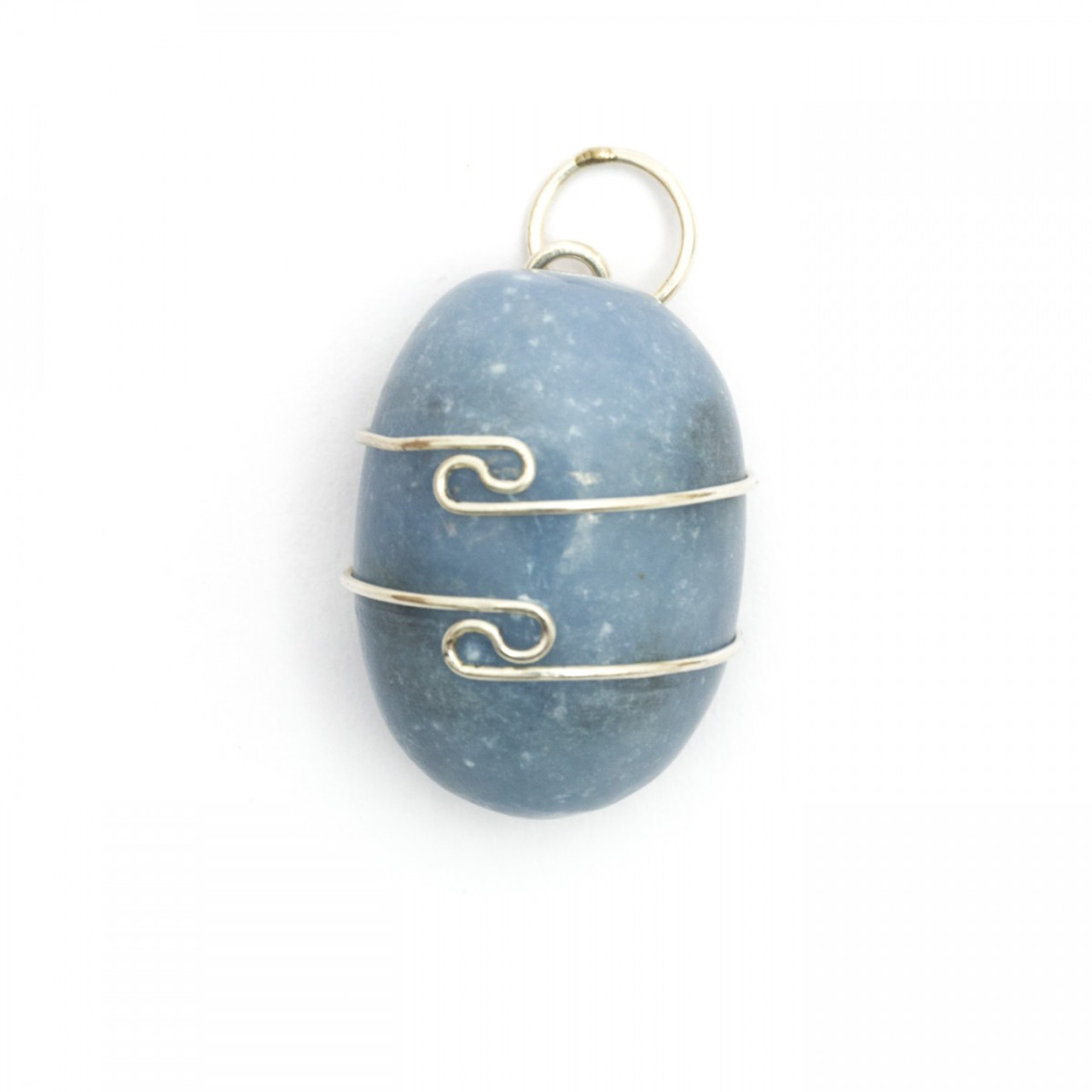 Angelite Wire Wrap Silver Pendant