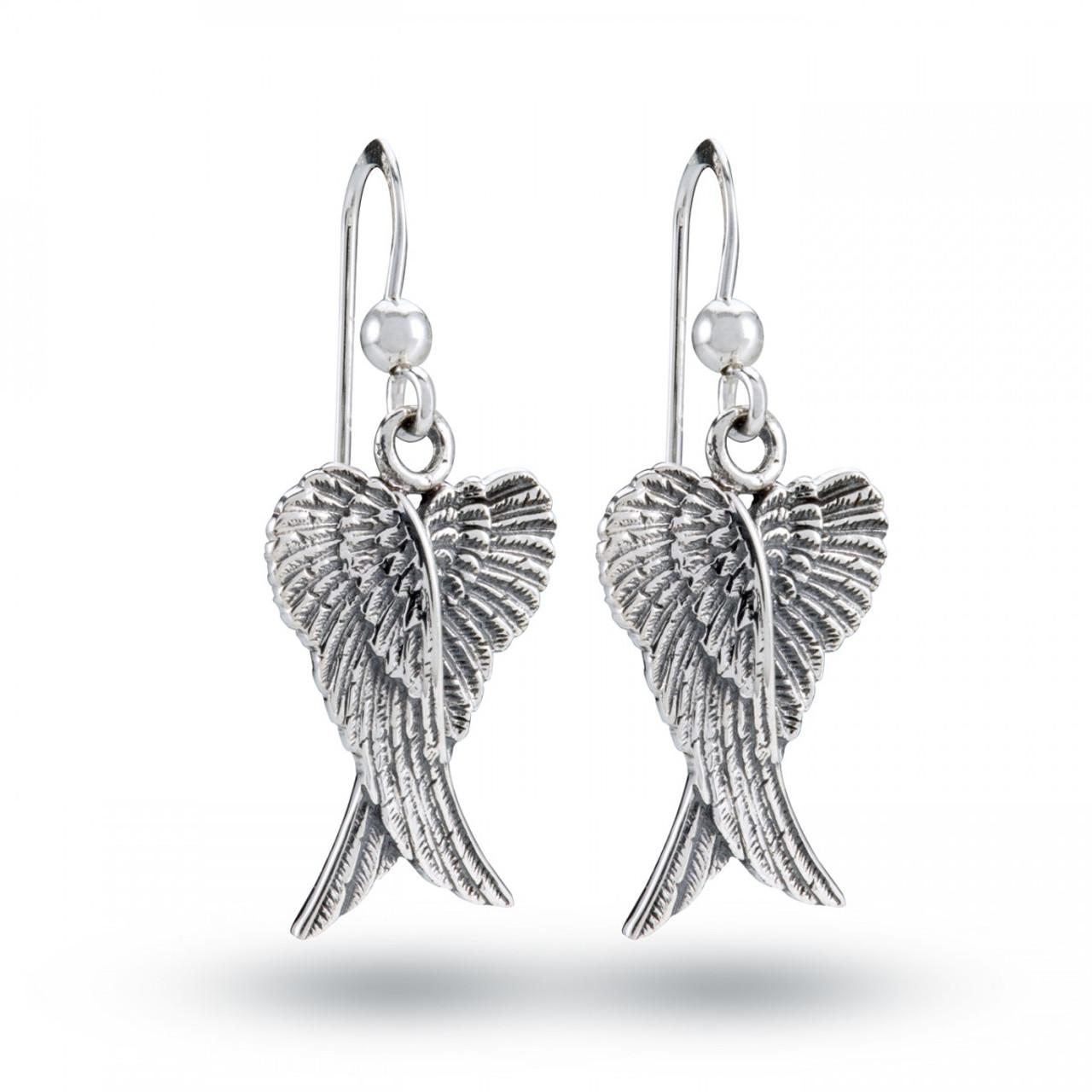 Double Angel Wings Earrings (Sterling Silver)