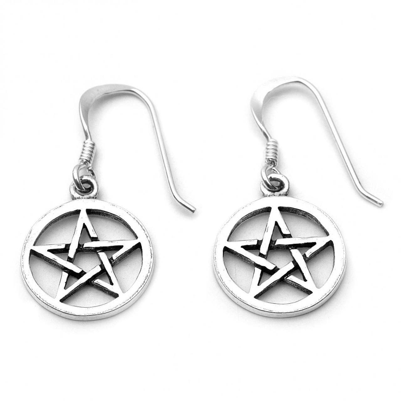 Small Pentacle Earrings (Sterling Silver)