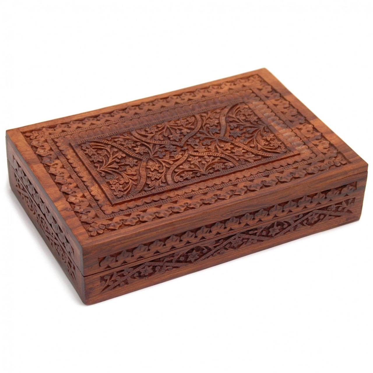 Double Hand-Carved Wooden Tarot & Oracle Card Box
