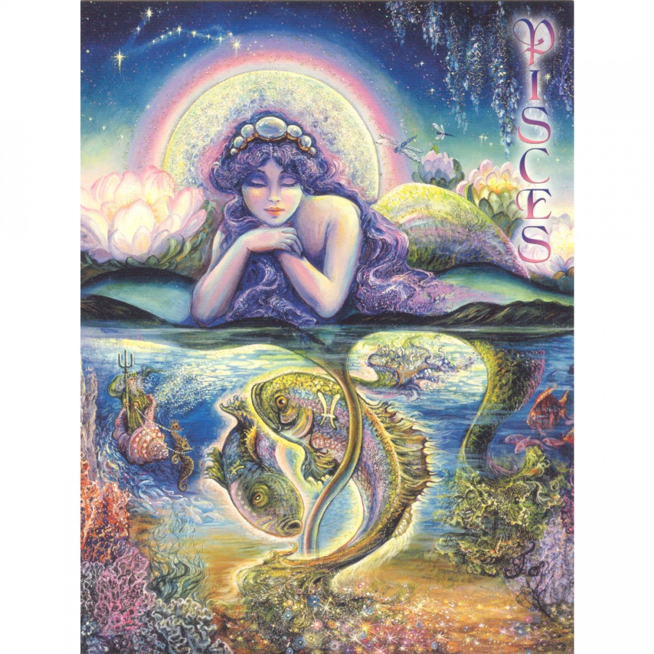 Pisces Greeting Card (February 19 - March 20) by Josephine Wall