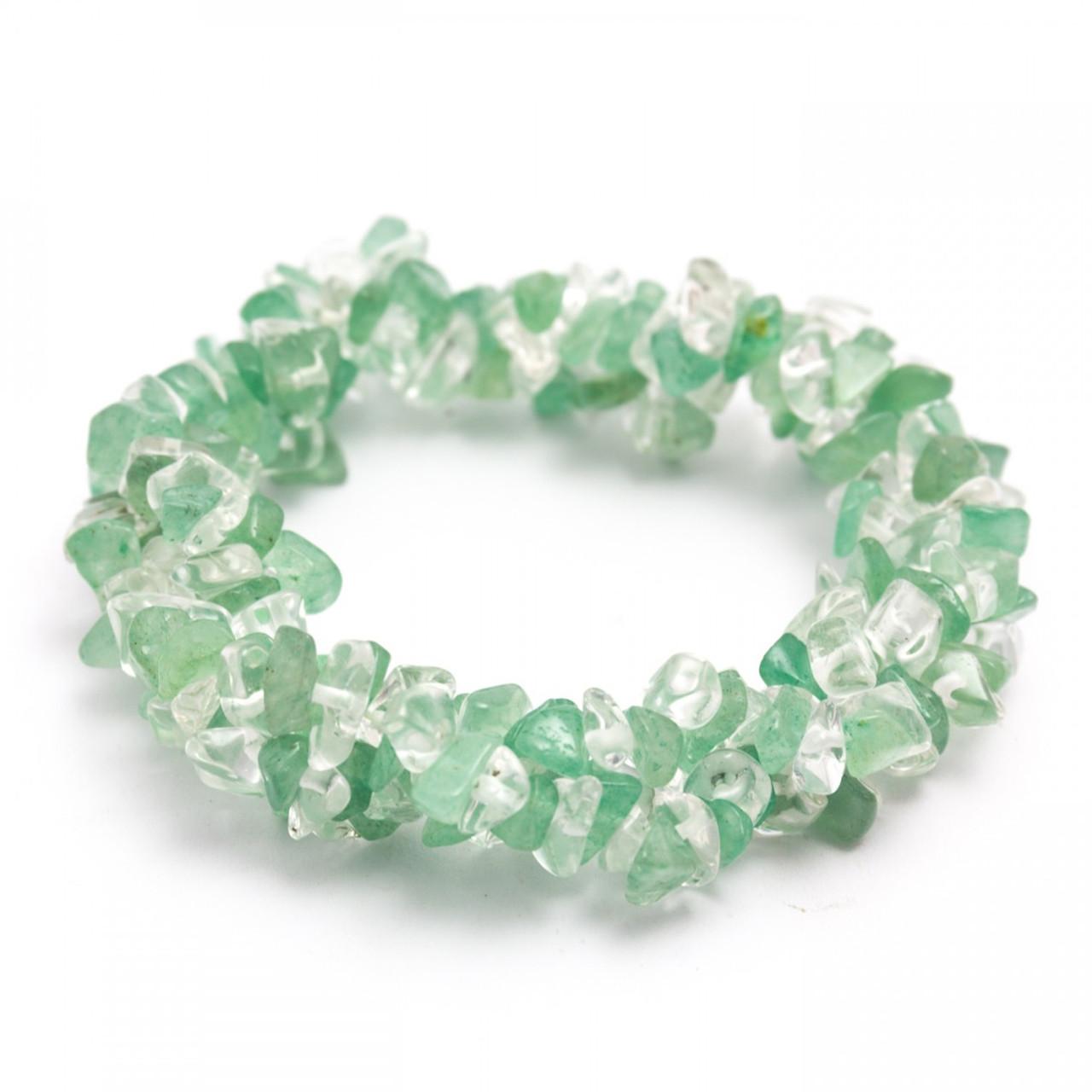 Green Aventurine & Clear Quartz Chunky Chip Bracelet