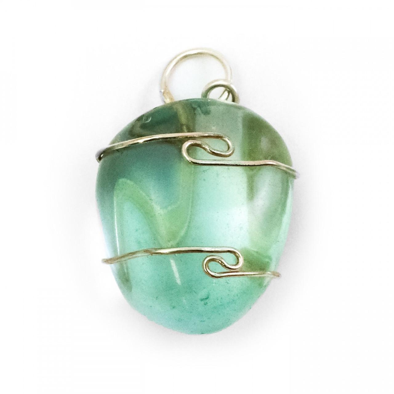 Aqua Blue Obsidian (Tumbled) Wire Wrap Pendant
