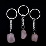 Rose Quartz Tumblestone Keyring