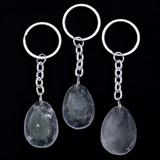 Clear Quartz Teardrop Crystal Keyring