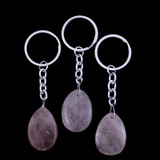 Rose Quartz Teardrop Crystal Keyring
