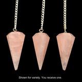 Faceted Rose Quartz Crystal Pendulum (Brazilian - Good Quality)