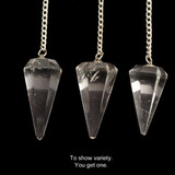Faceted Clear Quartz Crystal Pendulum (Brazilian - Good Quality)