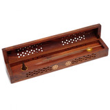 Carved Wooden Incense Box With Pentacle Brass Inlay