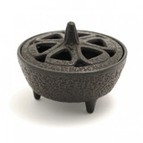 Black Cast Iron Incense Resin Bowl With Lid